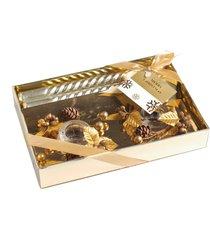 kit velas natalinas ouro 20cm + porta velas kit com 4 peças