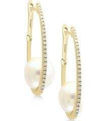 effy cultured freshwater pearl (9mm) & diamond (1/5 ct. t.w.) hoop earrings in 14k gold
