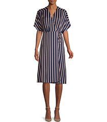 striped a-line wrap dress