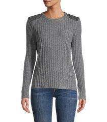 minnie rose women's cashmere & cotton-blend sweater - black - size m