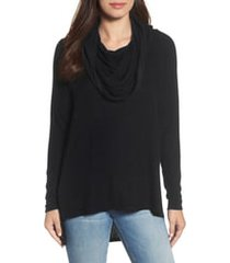 women's gibson cozy convertible neckline tunic, size large - black