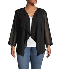 plus mesh drape-front jacket