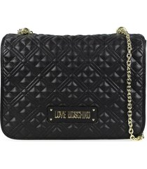 love moschino quilted nappa black shoulder bag