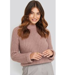 na-kd round neck chunky sweater - pink