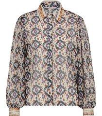 blouse met print pillar  wit