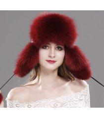 fashion women winter trapper hat genuine fox raccoon fur russian ushanka hat