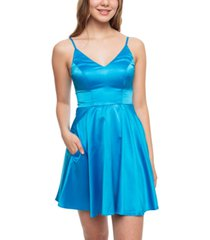b darlin juniors' satin fit & flare dress