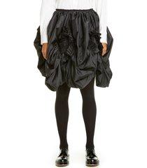 women's comme des garcons ruffle draped taffeta skirt, size x-small - black