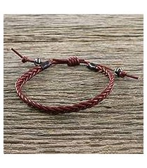 men's leather wristband bracelet, 'rustic simplicity' (thailand)