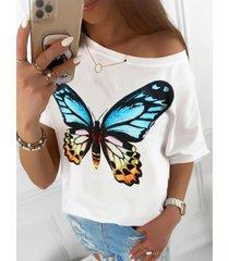 camiseta de manga corta con cuello redondo y estampado de mariposas