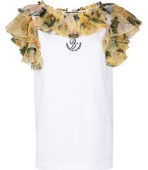 dolce & gabbana floral ruffled vest top - white