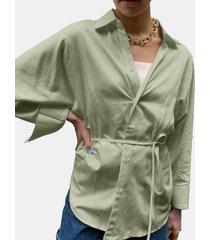 camicetta annodata a maniche lunghe in tinta unita con risvolto per donna