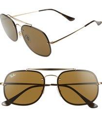 women's ray-ban blaze general 58mm aviator sunglasses - black/ gold/ brown solid