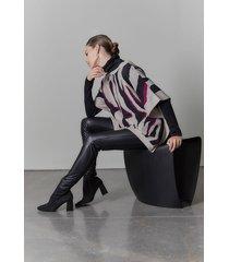 natori le tigre-angkor knit poncho sweater, women's, silk, size xl