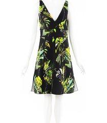 proenza schouler jungle leaf print dress black/green/geometric sz: s