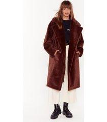 womens back fur good oversized faux fur coat - chocolate