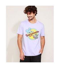 camiseta masculina os simpsons manga curta gola careca lilás