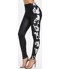 high rise musical notes print tight leggings