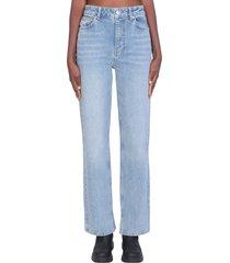 ganni confort strech jeans in cyan denim