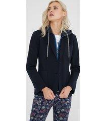 padded blazer with hood - blue - 44
