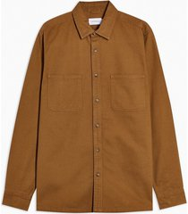 mens brown washed twill slim shirt