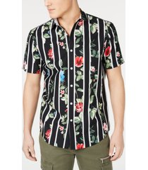 inc men's big & tall gregory floral stripe camp shirt, created for macy's