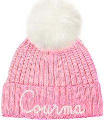 pink woman cap courma embroidery with white pompon