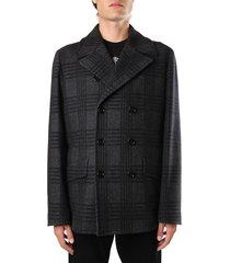 dolce & gabbana double-breasted pea coat in prince of wales wool
