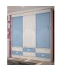 guarda roupa 3 portas 6 gavetas azul