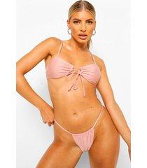 essentials bikini crop top met voor strikje, poederroze