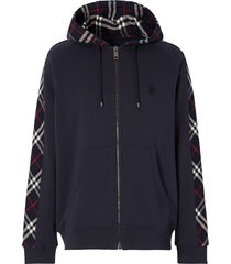burberry vintage check zipped hoodie - blue