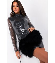 akira ready to play long sleeve sequin mini dress with faux fur