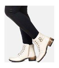 bota cano curto coturno feminina couro confort blogueira branco