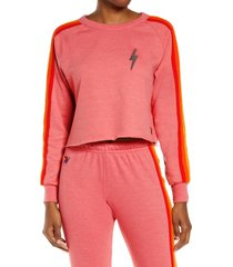 aviator nation bolt crop sweatshirt, size x-small in pink/serape rbw at nordstrom