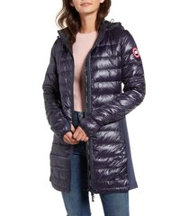 women's canada goose hybridge lite hooded packable down coat, size medium (8-10) - blue
