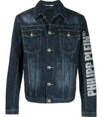 philipp plein flame denim jacket - blue