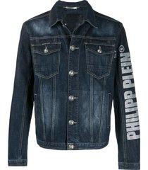 philipp plein flame denim jacket - blue