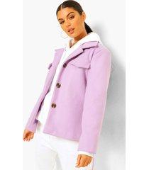 korte nepwollen trucker jas met ceintuur, lilac