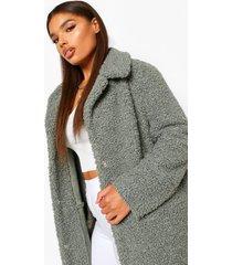 plus teddy faux fur longline coat, sage