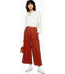 stripe linen crop wide pants - rust