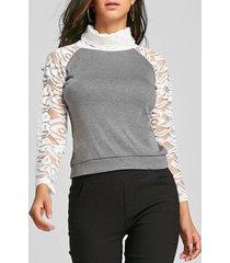 stylish long sleeve turtleneck knitting spliced women's t-shirt
