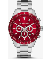mk orologio layton oversize tonalità argento - rosso (rosso) - michael kors