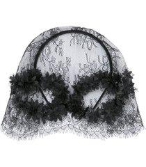 maison michel pola floral-lace hat - black
