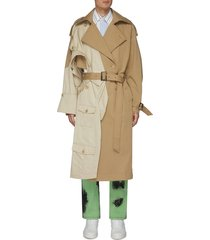 panelled belted trench coat