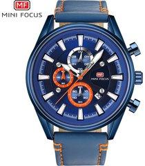 reloj para hombre/correa de piel/ mini focus / 0083g /-azul