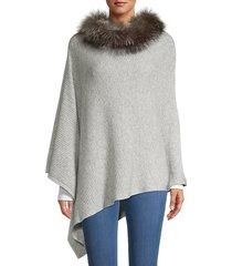 fox fur-trim wool & cashmere poncho