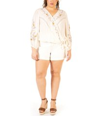 black tape plus size embroidered wrap blouse