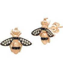gabi rielle women's 22k gold vermeil yellow & black crystal honey bee stud earrings - gold