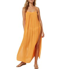 women's o'neill layna cover-up midi dress, size small - orange