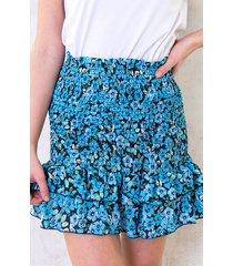 smocked bloemenprint rok blauw